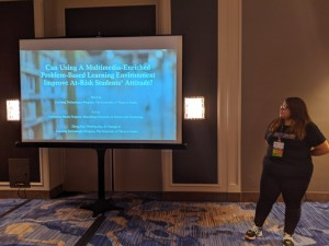 HU senior Emili Ochoa is pictured at the E-Learn 2019 World Conference in New Orleans